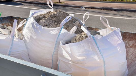 Bagged sand ready to be delivered to a customer