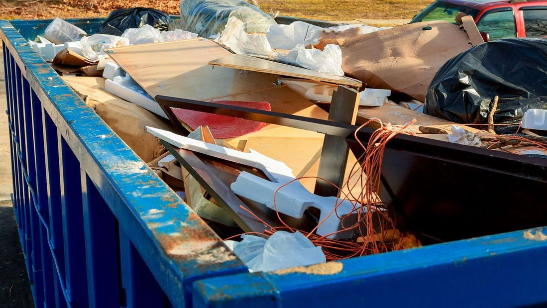 A skip full of recyclable materials