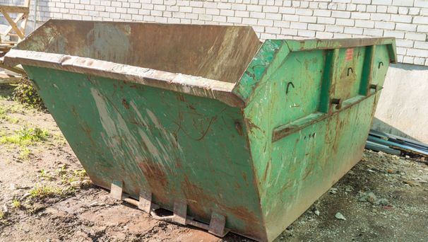 A skip ready to be filled with waste